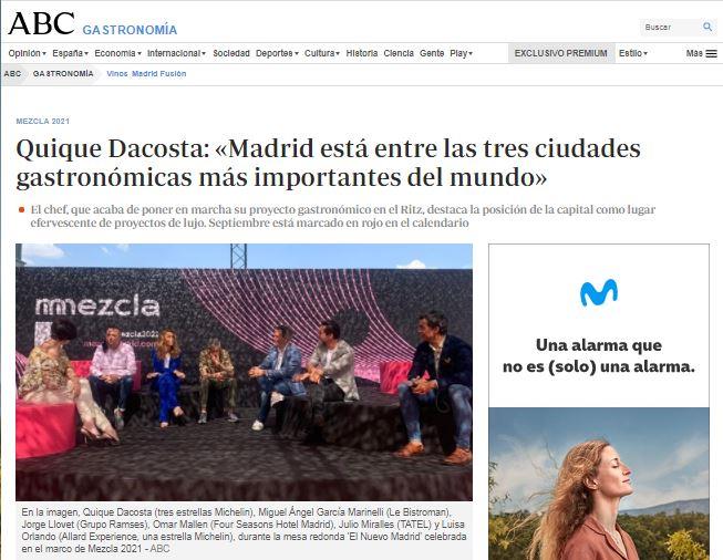 Quique Dacosta: «Madrid está entre las tres ciudades gastronómicas más importantes del mundo»