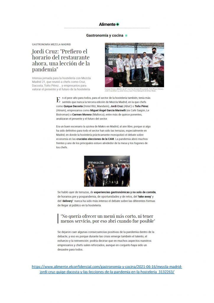 """Jordi Cruz: """"Prefiero el horario del restaurante ahora, una lección de la pandemia"""""""