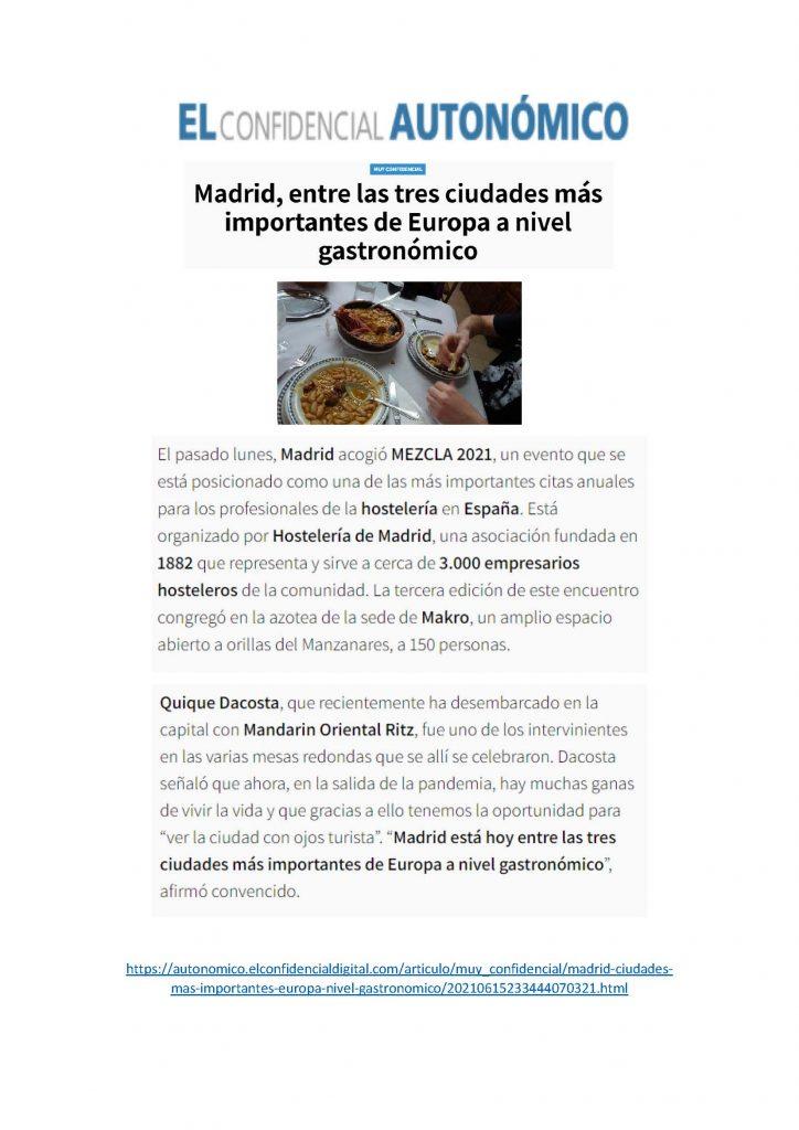 Madrid, entre las tres ciudades más importantes de Europa a nivel gastronómico