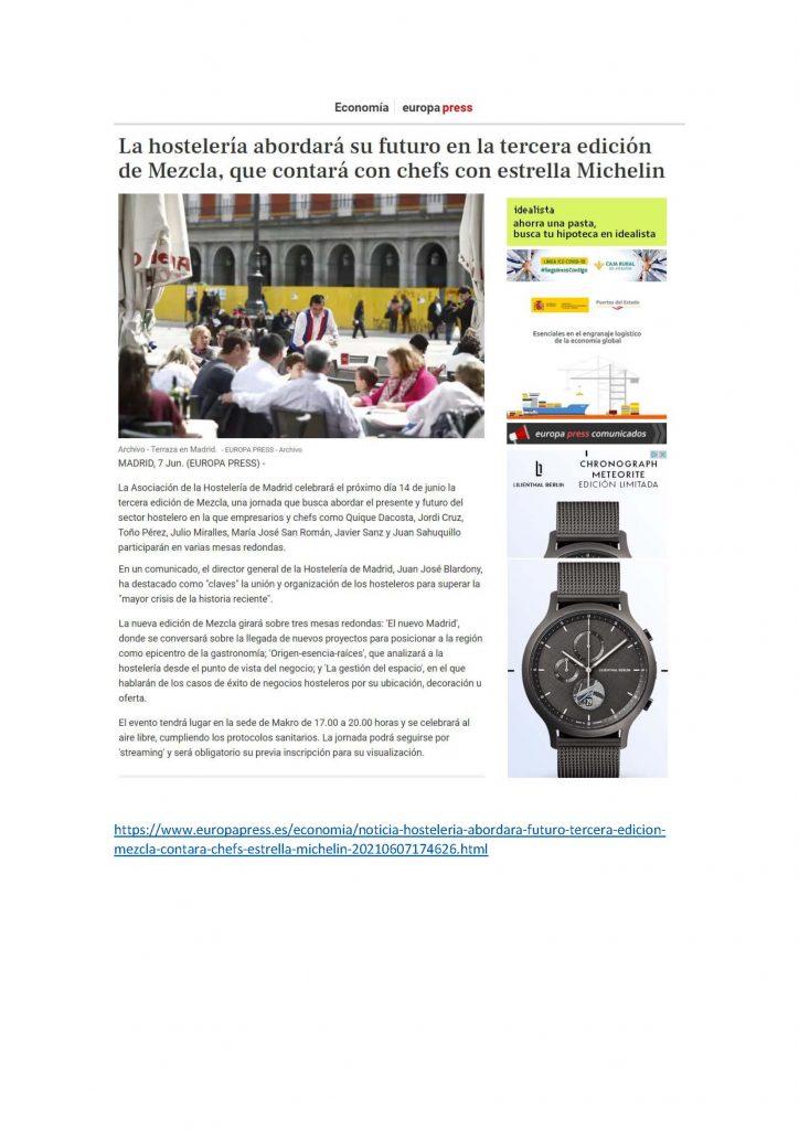 La hostelería abordará su futuro en la tercera edición de Mezcla con chefs estrella Michelín